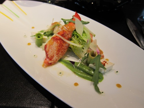 Maine lobster salad with avocado coulis, tofu and lemon olive oil