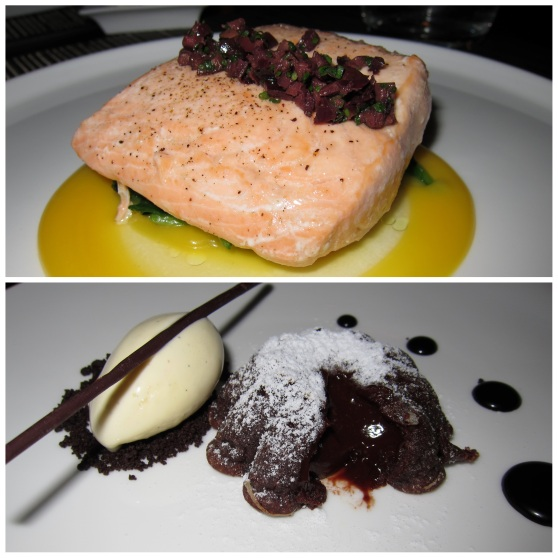 Salmon and Molten Chocolate Cake