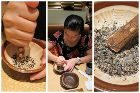Grinding the black and white sesame seeds